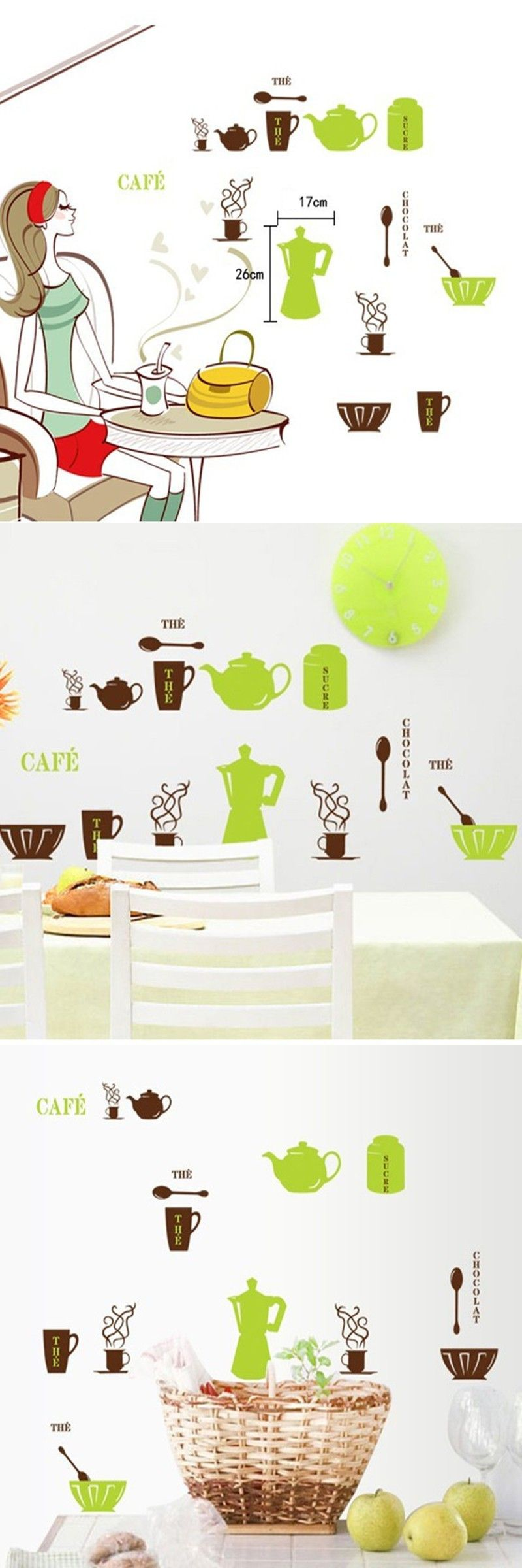 Hot sale green brown kettle spoon bow wall stickers for kitchen hot sale green brown kettle spoon bow wall stickers for kitchen removable warm home decor kitchen decoration amipublicfo Choice Image