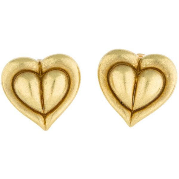 Pre-owned Barry Kieselstein-Cord Heart Clip On Earrings ($1,250) ❤ liked on Polyvore featuring jewelry, earrings, 18 karat gold jewelry, heart shaped jewelry, earrings jewelry, 18k jewelry and heart earrings