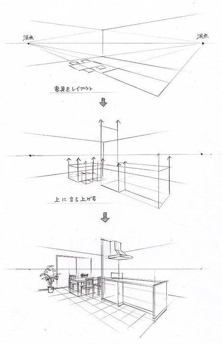 インテリア スケッチの仕方 手描きパースの描き方 インテリア