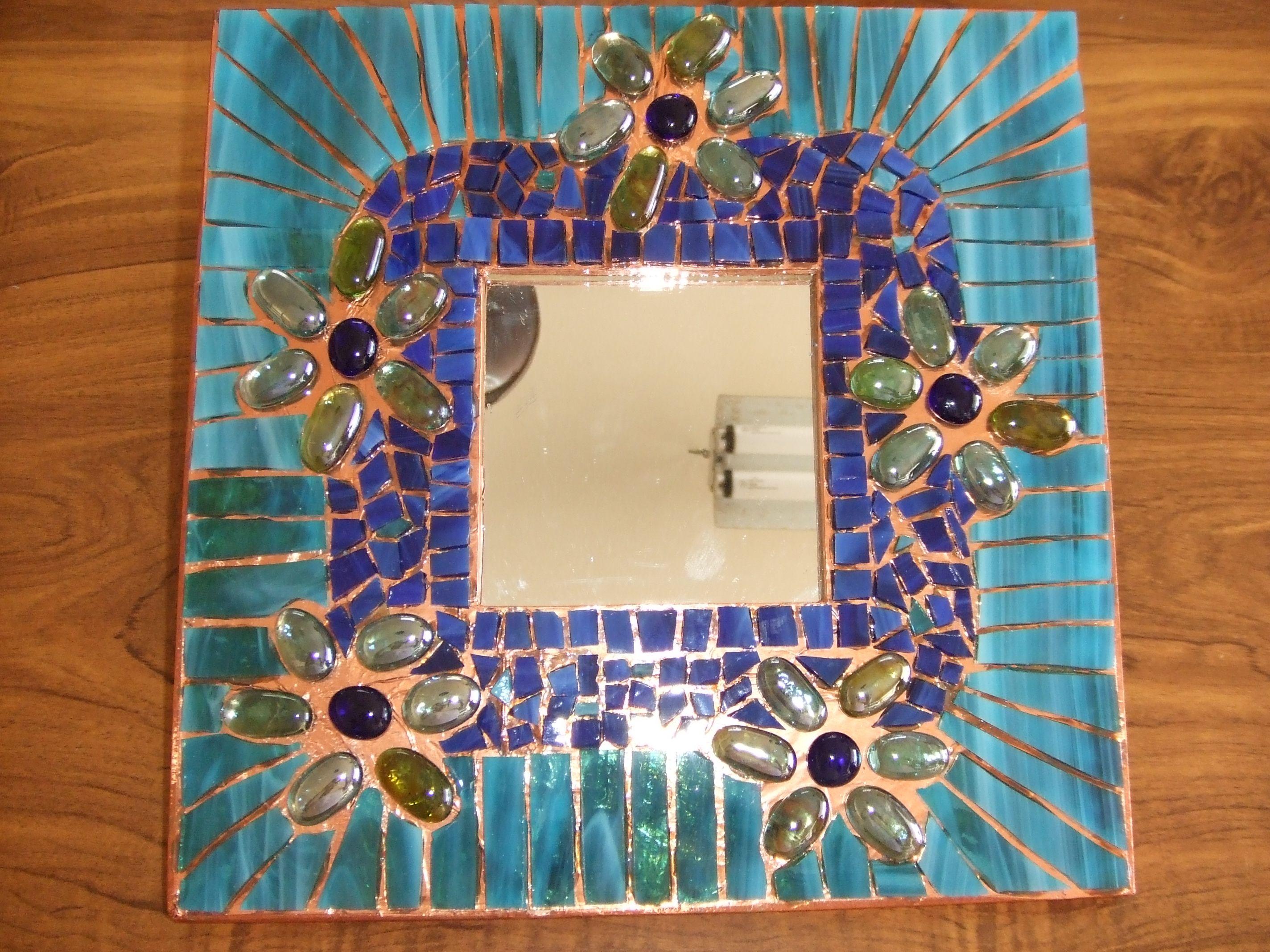 """Blue Daisies"" Art glass mosaic mirror - in the making"
