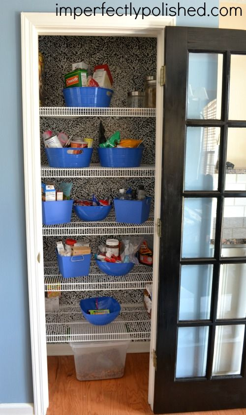 How To Add Style To Your Pantry Walls Contact Paper Wallpaper Pantry Wall Paper Wallpaper Pantry Bin