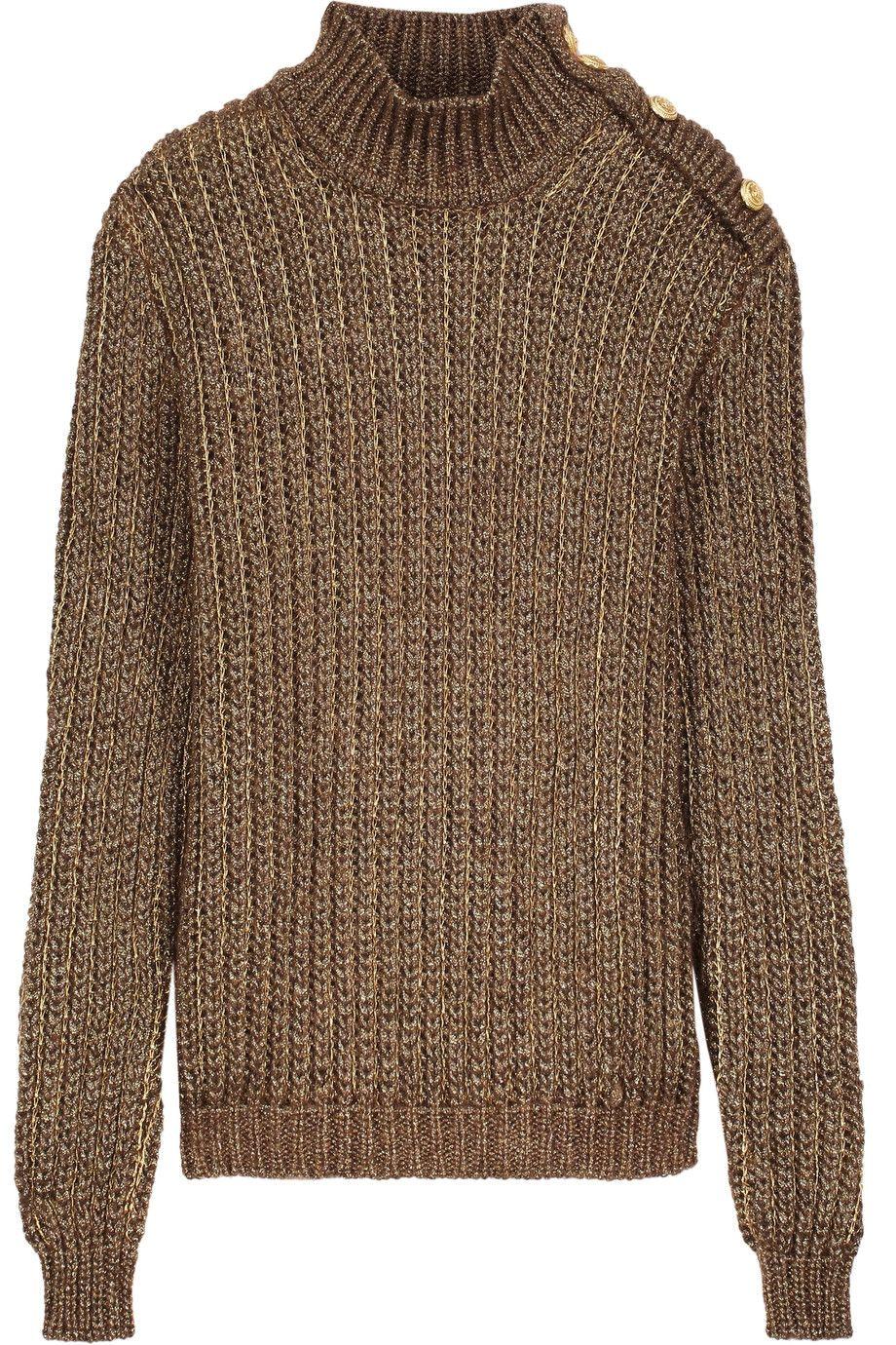 BALMAIN Metallic Open-Knit Mohair Blend Turtleneck Sweater. #balmain #cloth #sweater