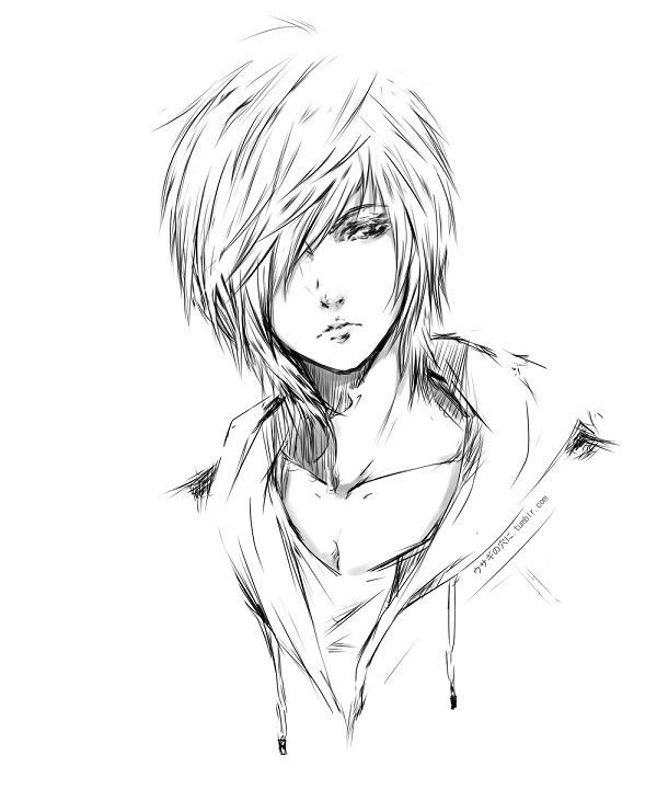 Anime Boy Face Sketch