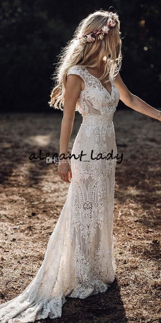 Vintage Bohemian Wedding Dresses with Sleeves 2019 Hppie Crochet Cotton Lace Boho Country mermaid Bridal Wedding Gown -   15 wedding Boho hippie ideas