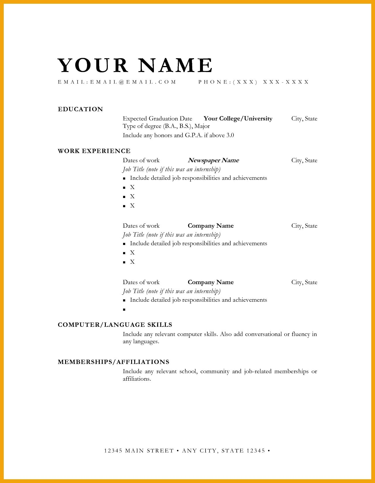 Graduation Date Outline Format Sample Expected Resume Manager Best