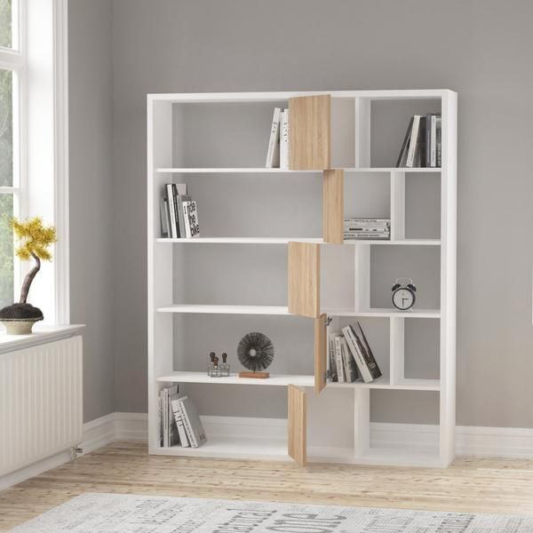 Roscoetoo Bookcase With Doors White Oak Grey Brown Red Colours