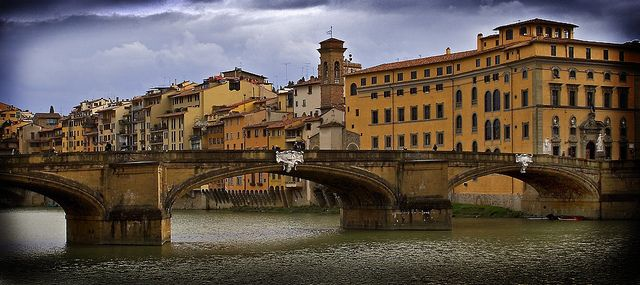 Arno River Bridge In Italy Scenic Landscape Photo Print Architecture Poster