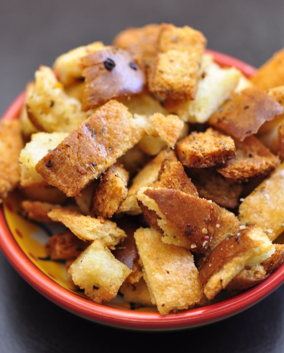 Bread Crust Croutons for salads or soups