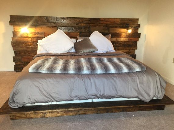 Rustic Headboard, Rustic Lights, Headboard, King Size Headboard ...