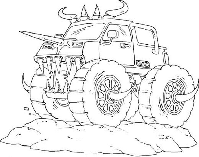 monster truck coloring pages for boys coloring pages for kids - Monster Truck Coloring Pages Easy