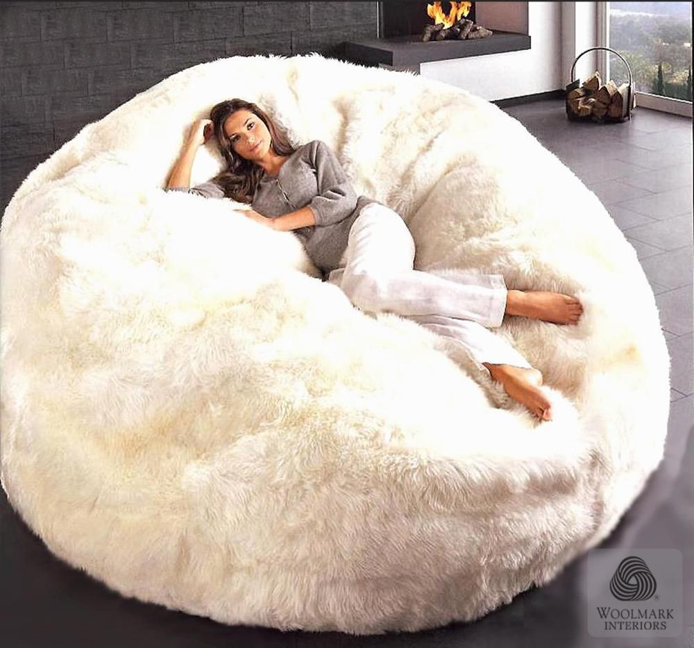 Sheepskin Beanbag Filled Auskin Jumbo Bean Bag Chair Cozy Place Cool Stuff