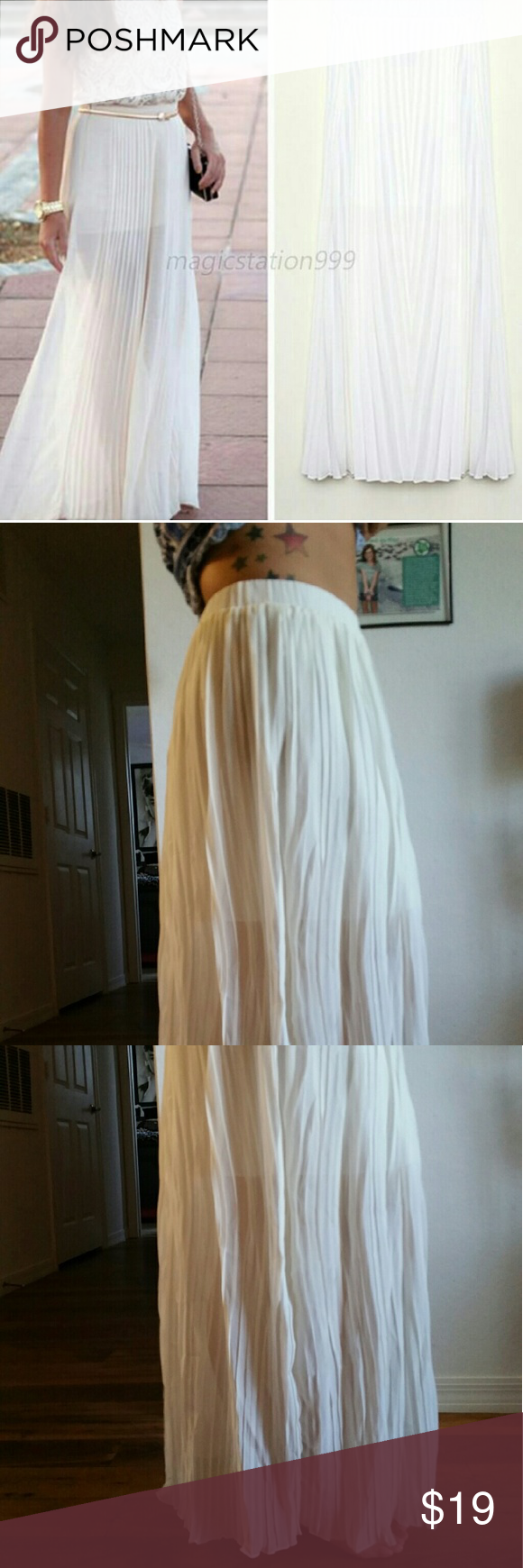 "NEW white chiffon maxi skirt This is brand new (didn't come with tags). It's a white chiffon maxi skirt, sized as a large but fits XS, SM, and MD. (I'm usually a sz 4-6). The last 2 pics are side views of the skirt. I'm wearing it at my natural waist (not hips), and I'm 5'4"". Skirts Maxi"