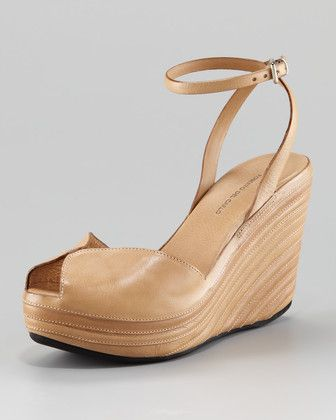Roberto del Carlo  Fig Peep-Toe Ankle-Strap Wedge