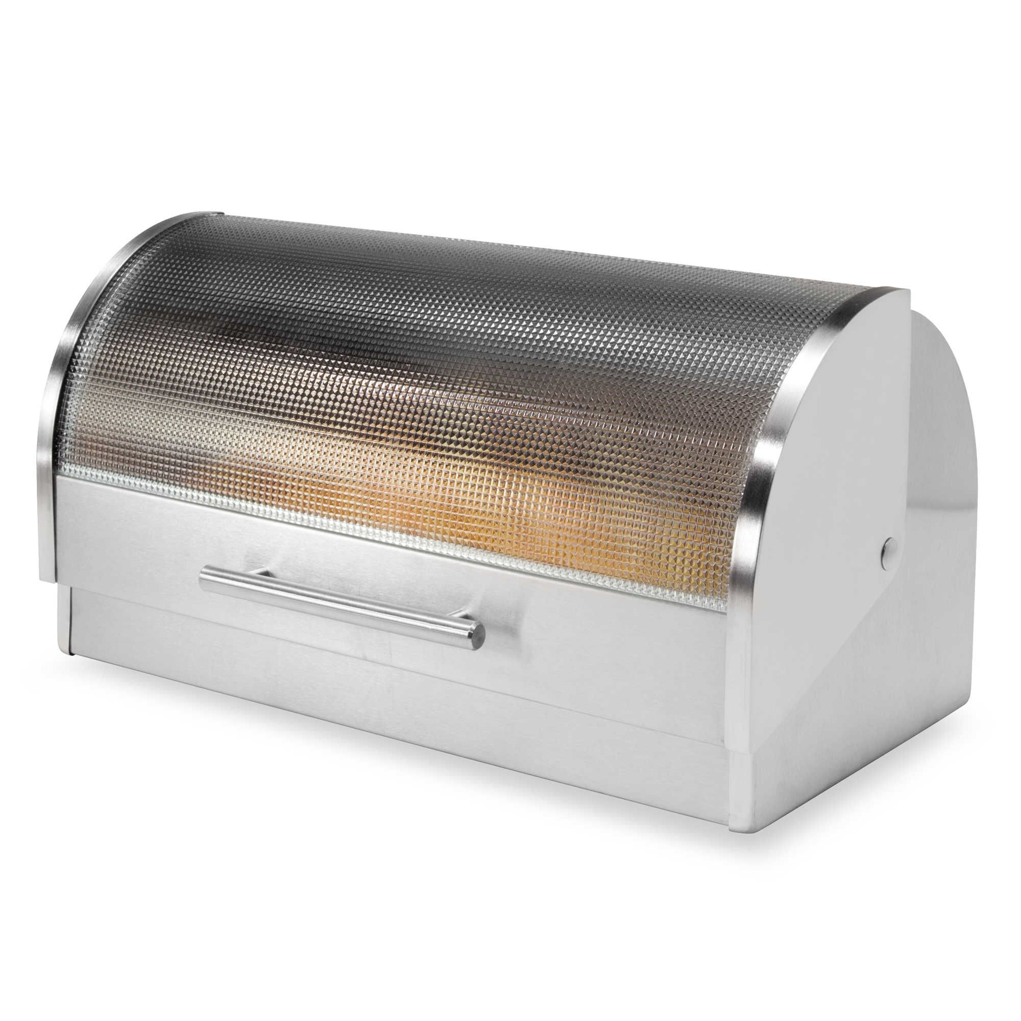 Oggi™ Stainless Steel Glass Roll Top Bread Box Food