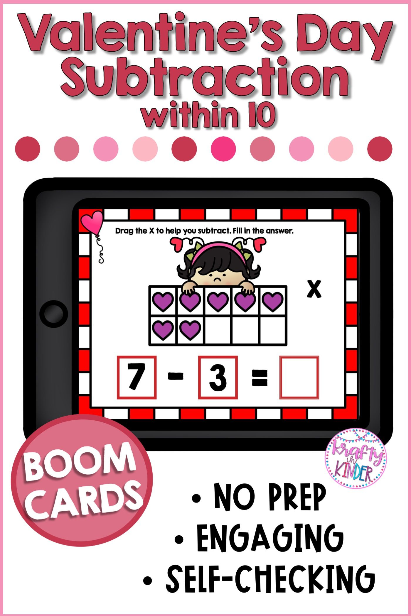 Valentine Subtraction Kindergarten In