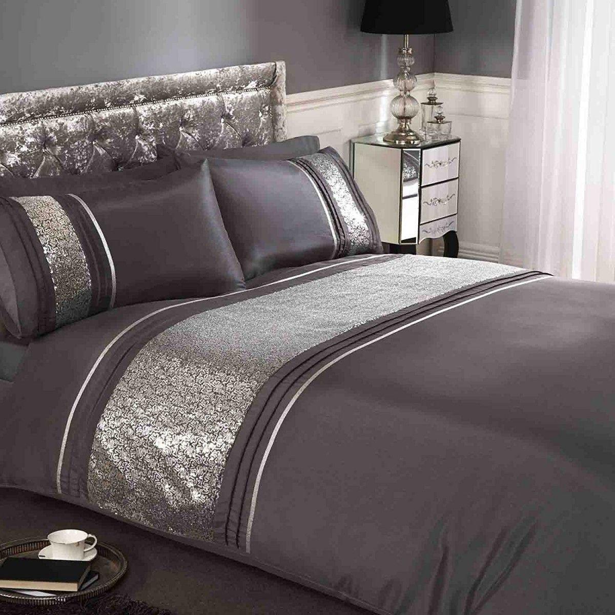 Housse de Couette Noir Bandes SEQUINS Argent in 2019 | bed room ...