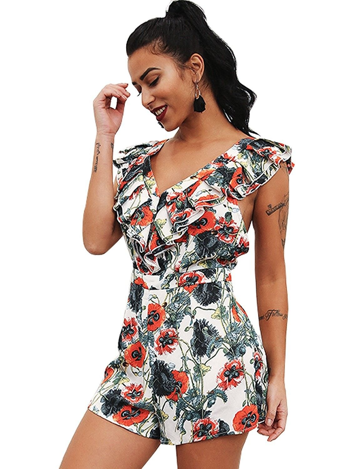 Women s Sexy V Neck Backless Floral Short Rompers Ruffles Jumpsuit - Print  - CP189Z6ZHH8 ba082fb51c23