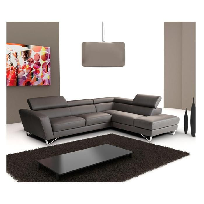 Sparta 2 Piece Leather Sectional In Dark Gray