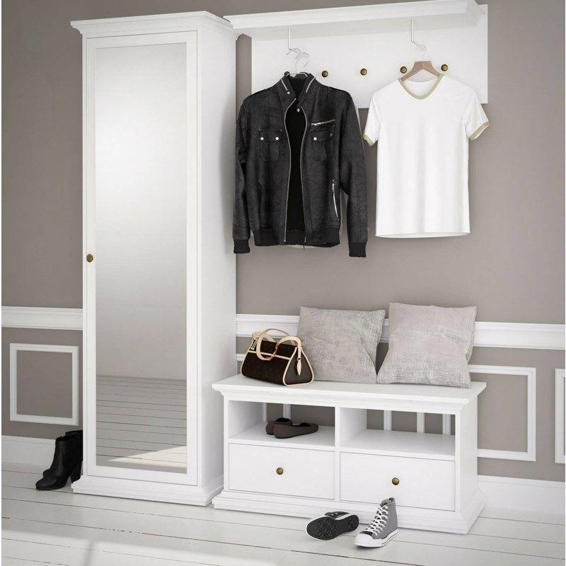 Hvidt Paris entré sæt (bænk og hylde) i romantisk design ...