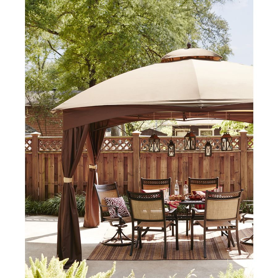 Shop Allen Roth Brown Rectangle Screened Gazebo 10 Ft X 12 Ft