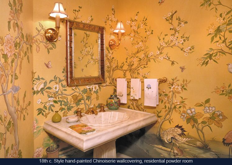 Hand painted chinoiserie wallpaper private residence for Chinoiserie mural wallpaper