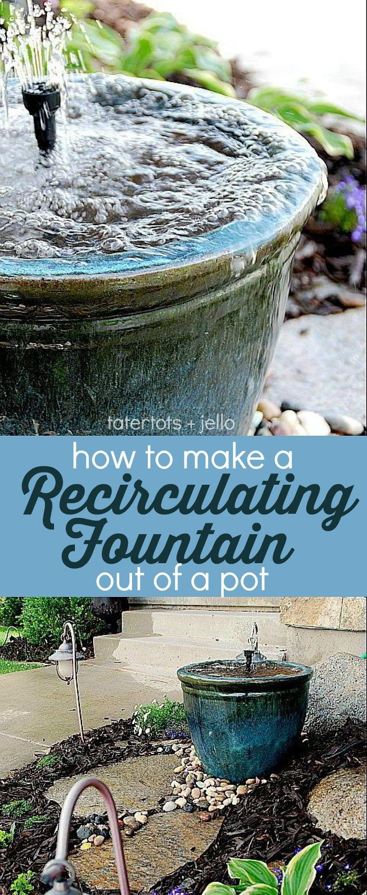 Make a DIY Recirculating Fountain for your yard out of a pot! #waterfeatures