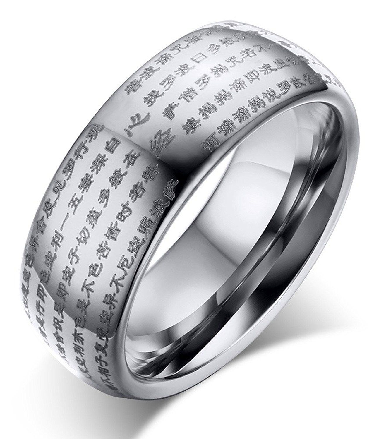 Genuine Tungsten Carbide Silver Chinese Heart Sutra Engraved Domed Wedding Rings Band Tried It Love Click The Image Gift For Guys: Chinese Man Wedding Band At Websimilar.org
