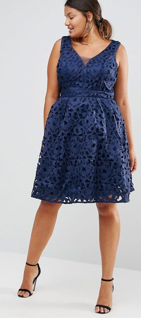 Plus Size Lace Dress With Cut Out Back