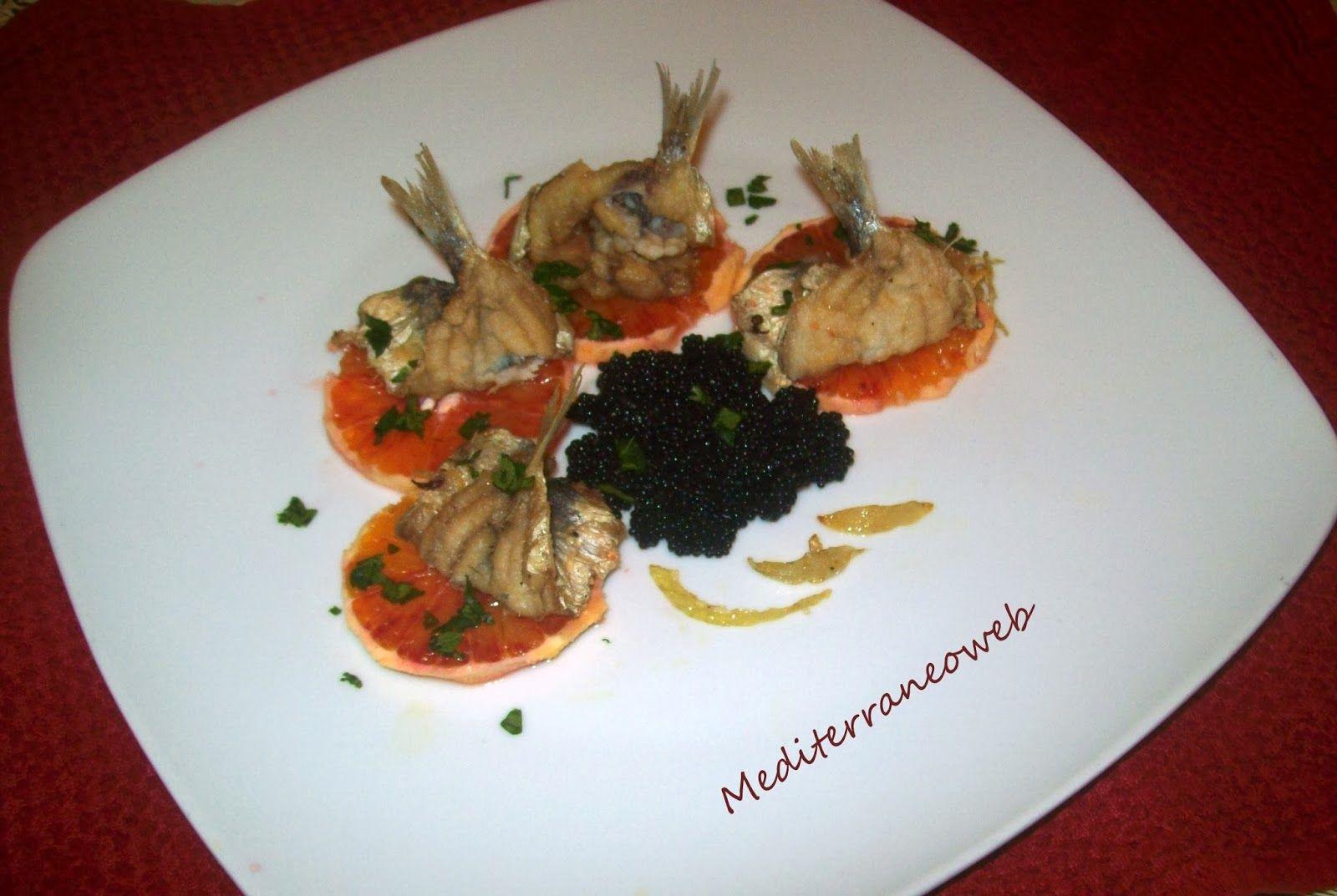 Mediterraneoweb@Sicilia: ANTIPASTO  DI ALICI, ARANCE e uova di Lompo