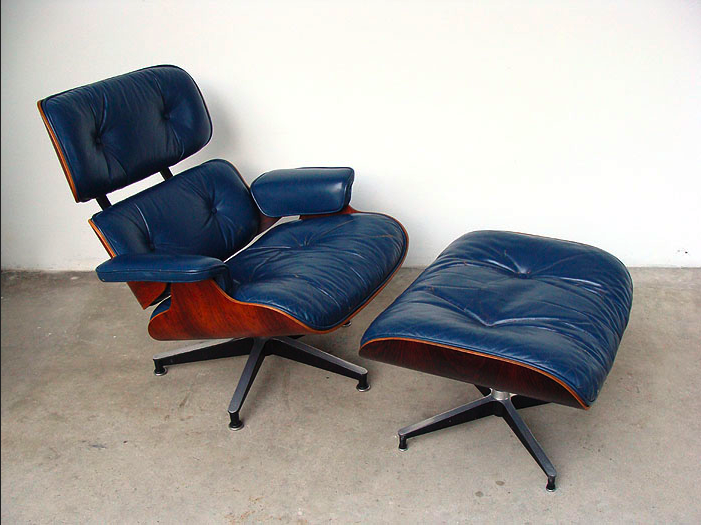 Vintage blue leather and Brazilian rosewood Eames 670 lounge & 671 ottoman