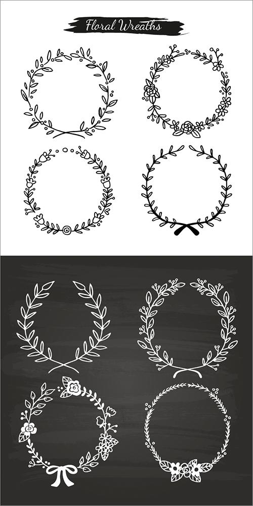 花や草の手描きデザインがかわいい 飾り罫 花冠 リボン アローなどがたくさん揃ったベクター素材 シンプルな刺繍 文字パターン 刺繍 図案