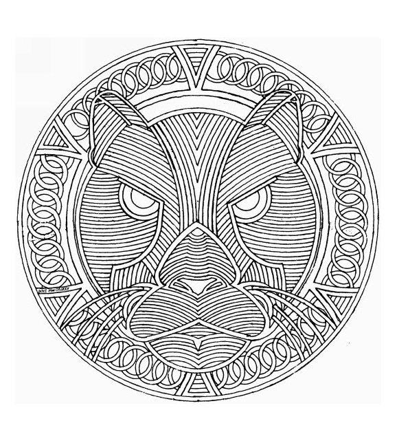 Free Mandalas page «mandala-to-color-animals-free-cat». Big cat in ...