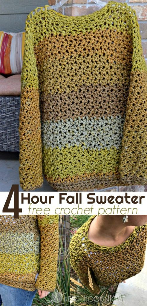 f4935108e Four-Hour Fall Sweater Free Crochet Pattern