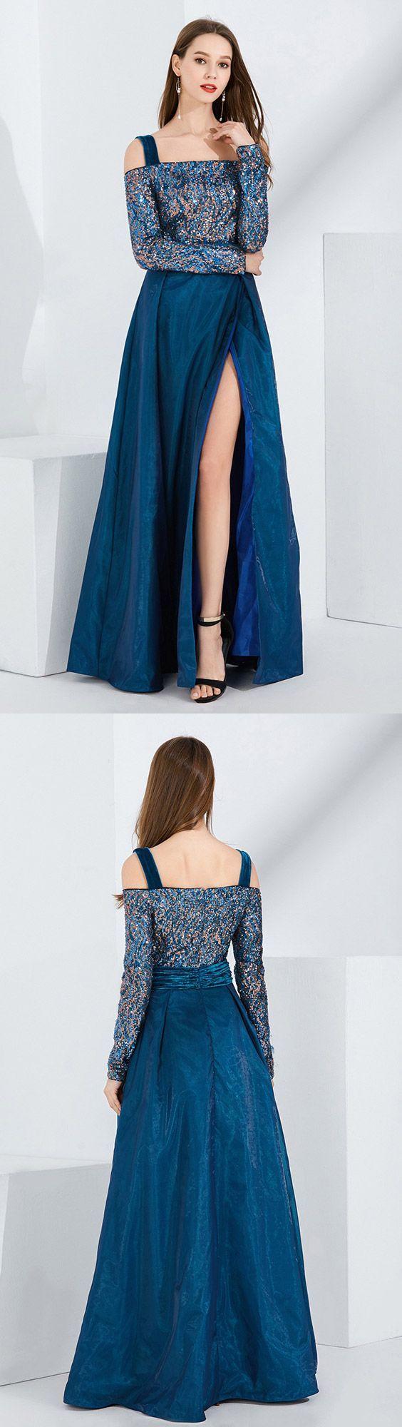 Blue velvet slit sequined formal dress with off shoulder long