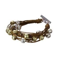 Metal Bead Cord Bracelet - Brown