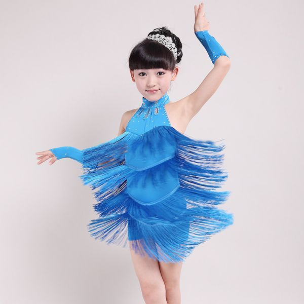 19733577c Kids Girls Child Tassel Latin Salsa Dancing Party Costume Dress + ...