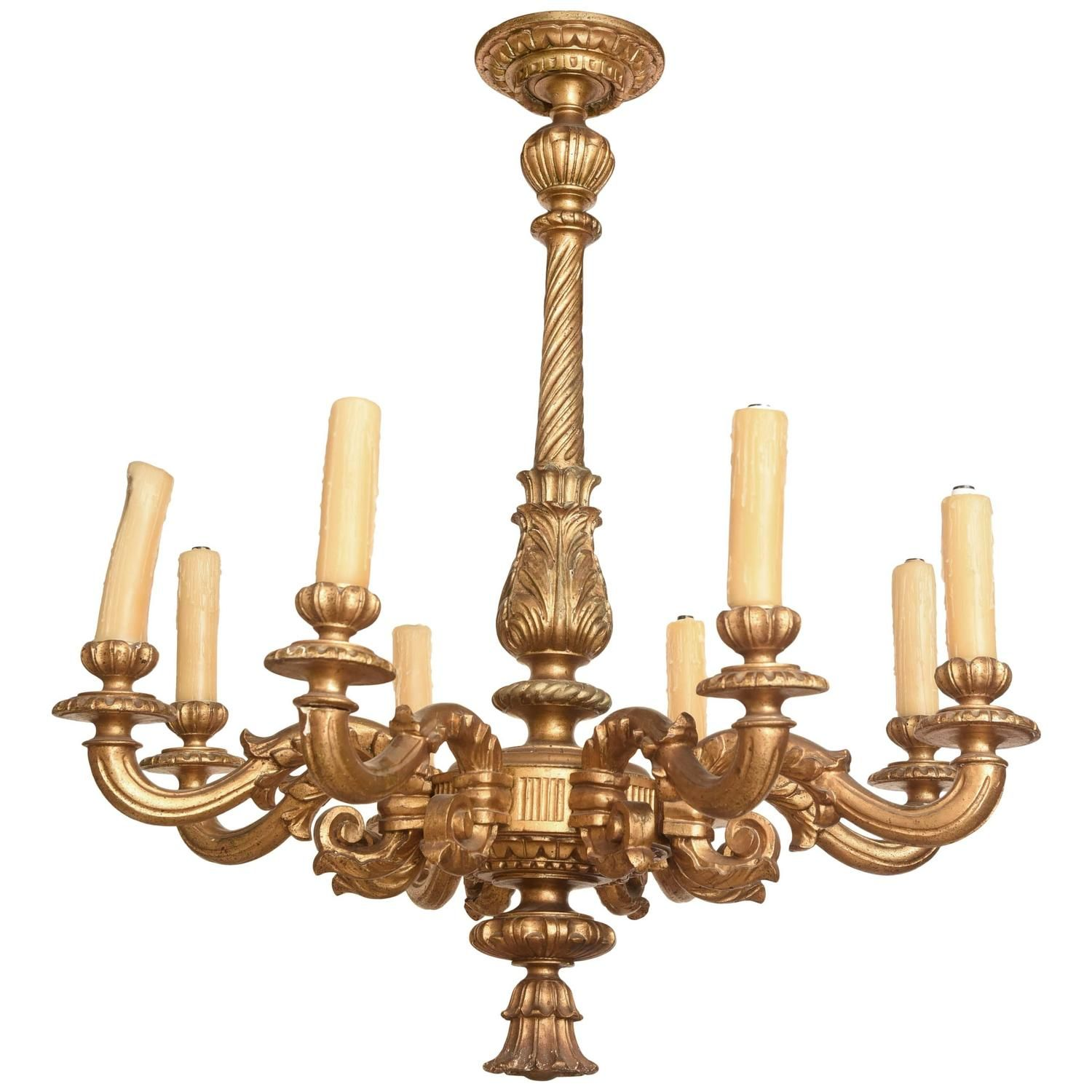 Early 19th Century Carved Giltwood Eight-Light Chandelier | From a unique collection of antique and modern chandeliers and pendants at https://www.1stdibs.com/furniture/lighting/chandeliers-pendant-lights/