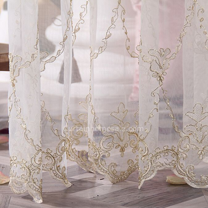 High Quality Gold Embroidered Pattern White Sheer Curtain Drapery