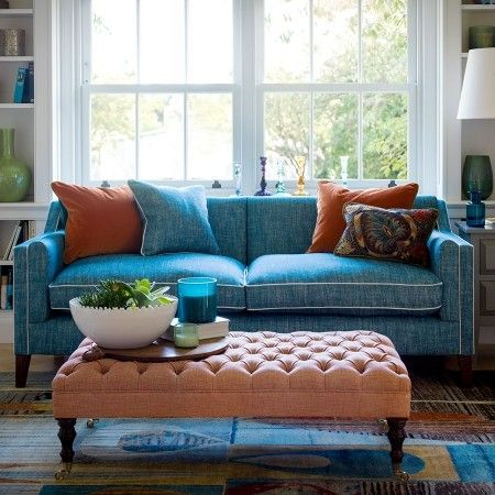 Blue Sofa Living Room Design Endearing Blue Sofa With White Piping Tufted Ottoman As Coffee Table  Home 2018