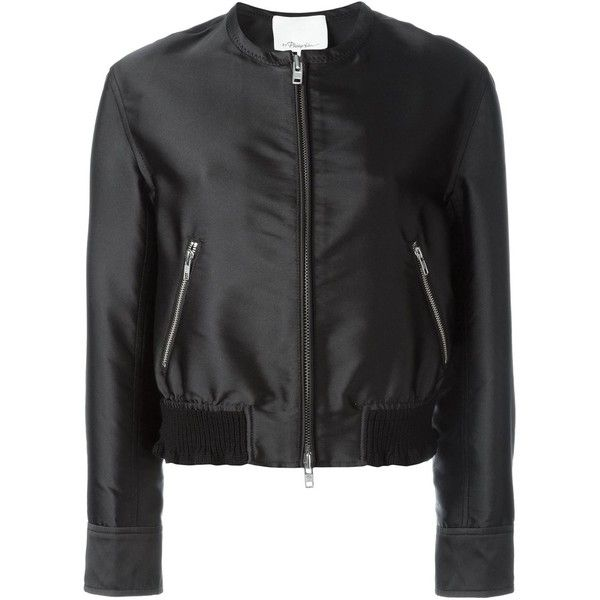 3.1 Phillip Lim Satin Ruffled  Bomber (15,985 MXN) ❤ liked on Polyvore featuring outerwear, jackets, black, ruffle jacket, satin bomber jacket, cropped bomber jacket, long sleeve crop jacket and satin jacket