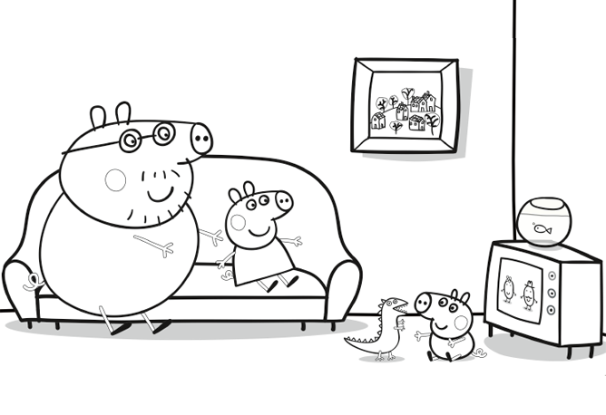 Daddy Pig - Watching television   Create   Nick Jr   Libro de ...