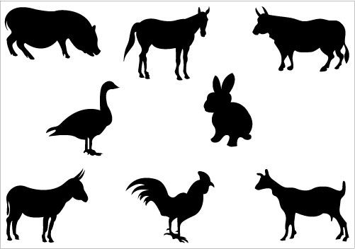 This is an awesome farm silhouette vector included with animal ...
