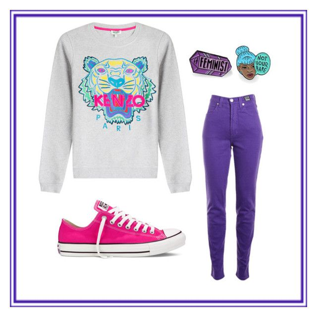 """""""Untitled #40"""" by iamdolledkouture on Polyvore featuring Kenzo, Converse, Versace Jeans Couture and Punky Pins"""