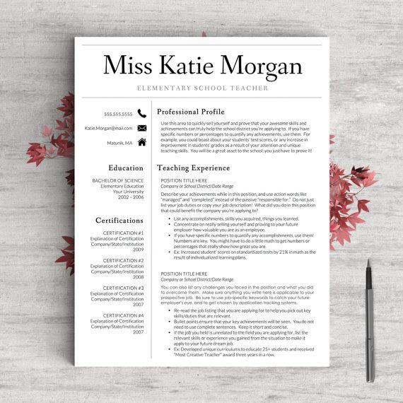 Teacher Resume Template For Word  Pages    And  Page Resume