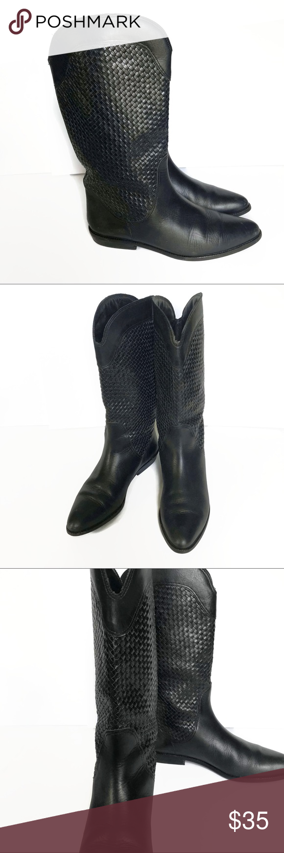 Vintage 80/'s Design Black Real Leather Boots with Gray Zig Zag Design