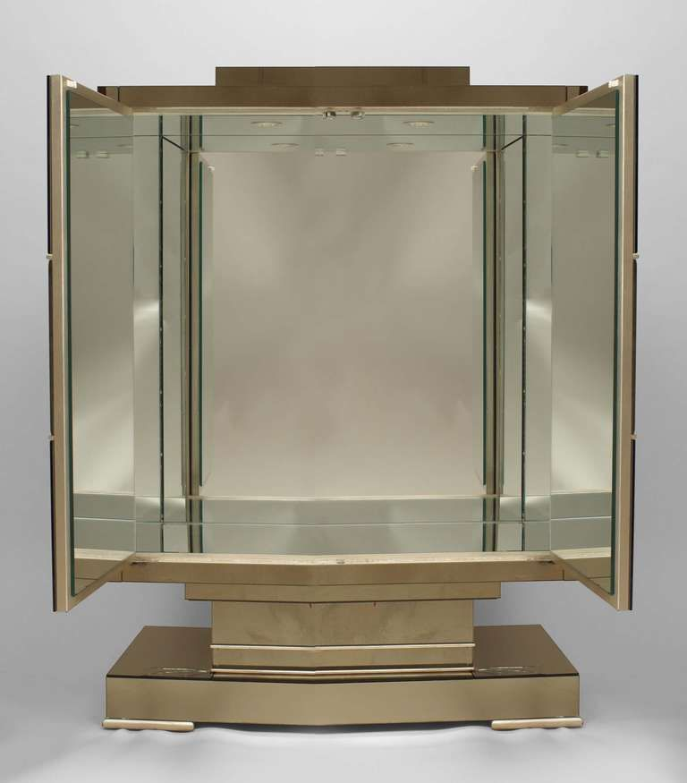 French Art Deco Mirrored Bar Cabinet With Decorative Etching
