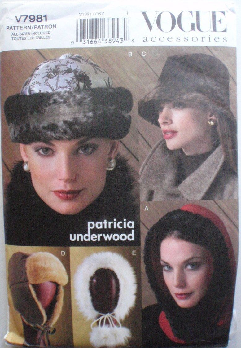 Vogue 7981 - Women\'s Lined Winter Hats Sewing Pattern By Patricia ...