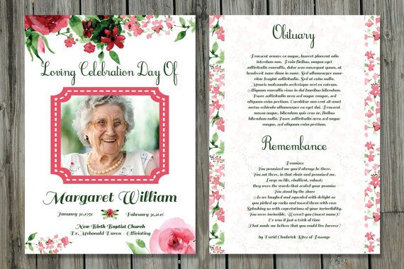Funeral Program Template  X Funeral Card Template  Memorial