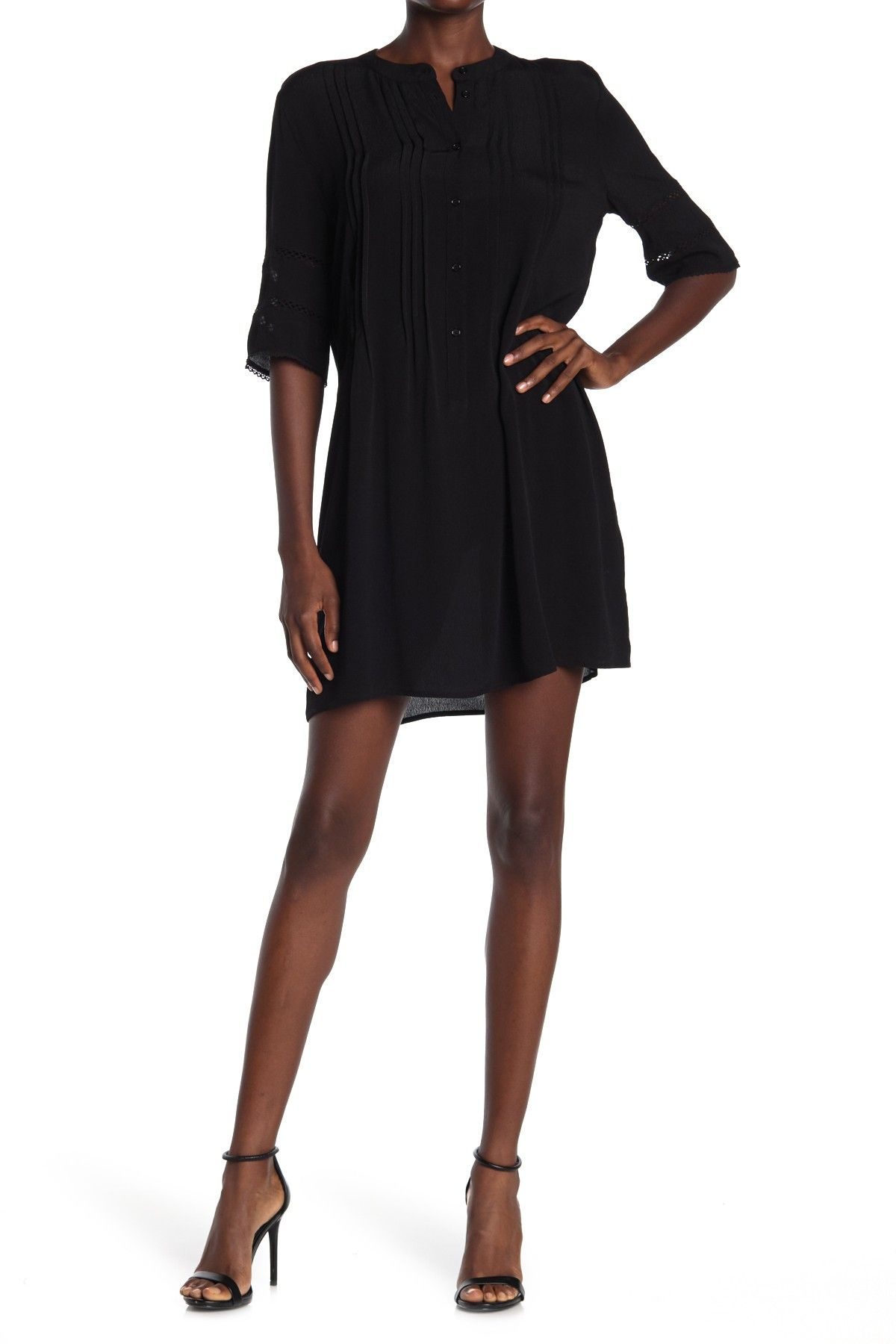 Pintuck 3/4 Sleeve Shirt Dress by Collective Concepts on @nordstrom_rack