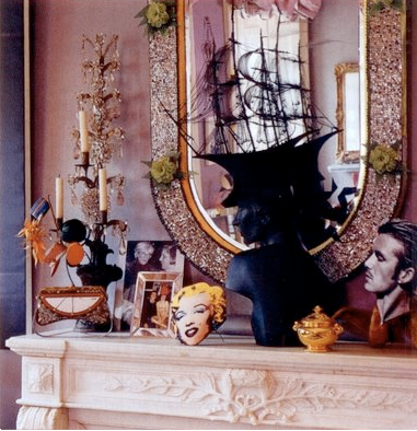 the late Isabella Blow's mantlepiece. Hats by Philip Treacy.